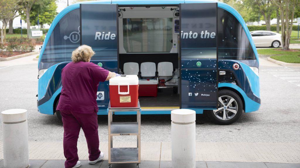 Nurse and the self-driving NAVYA
