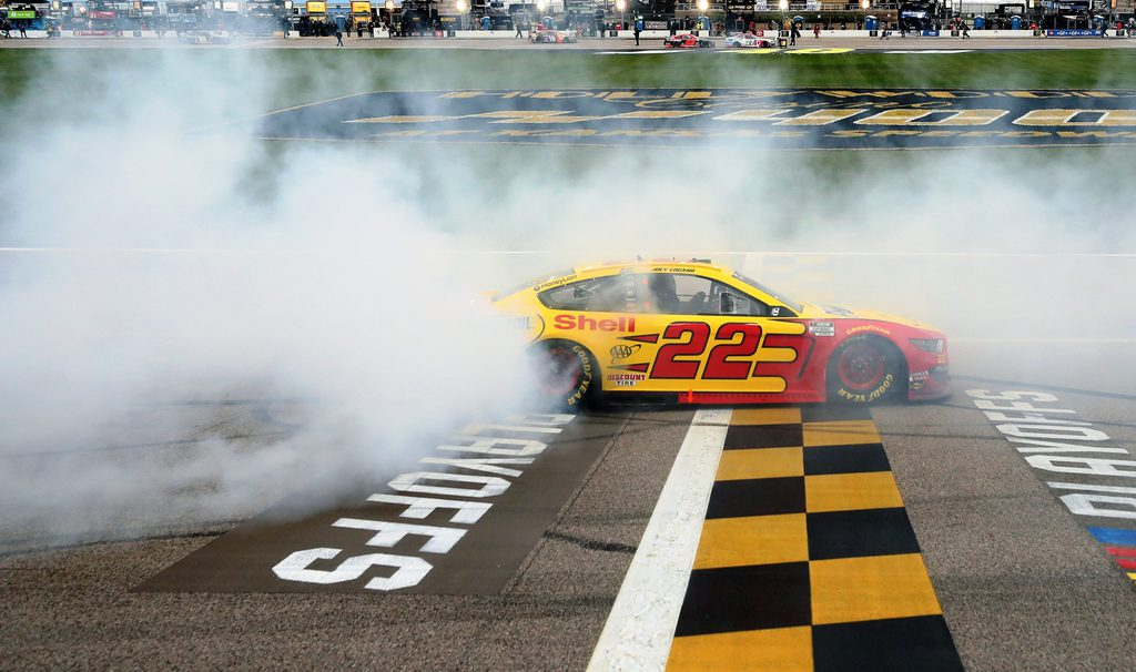 Joey Logano Crossing the Finish Line NASCAR