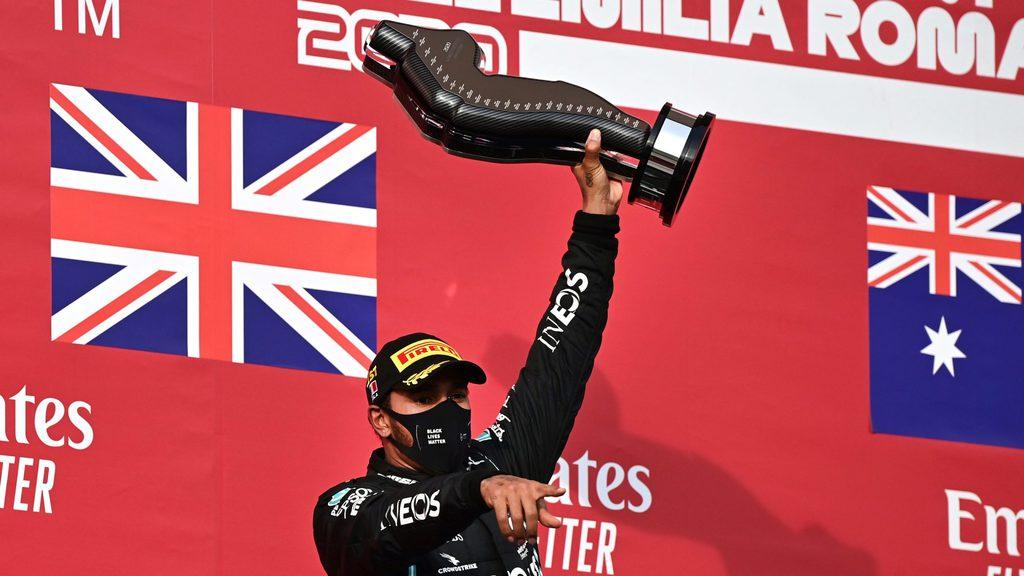 Hamilton celebrating his victory at the 2020 Emilia Romagna GP