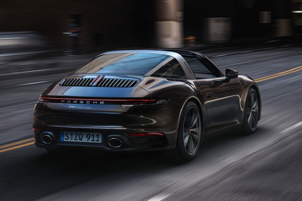 The Back of a Black Porsche 911