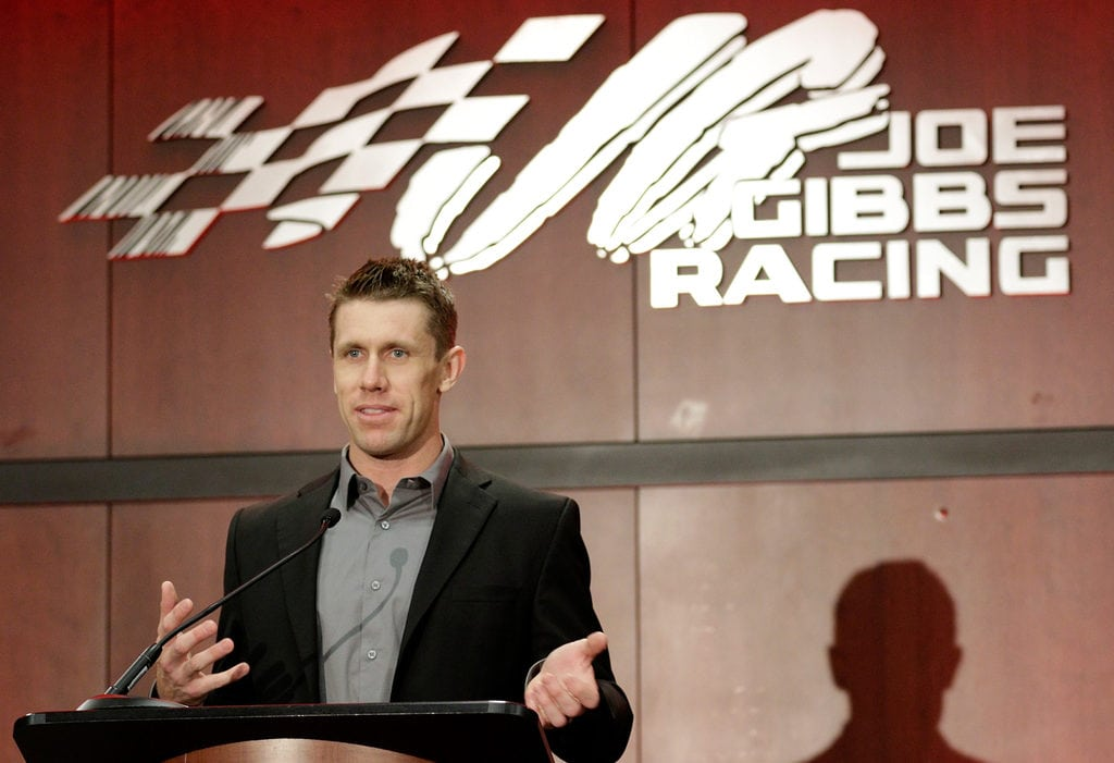 HUNTERSVILLE, NC - JANUARY 11: NASCAR driver Carl Edwards talks about his career in a stock car during a press conference to announce his retirement at Joe Gibbs Racing on January 11, 2017 in Charlotte, North Carolina.