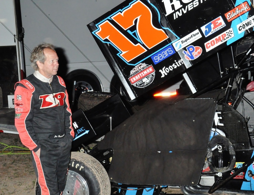 Haudenschild Next to His Sprint Car Racing Vehicle.