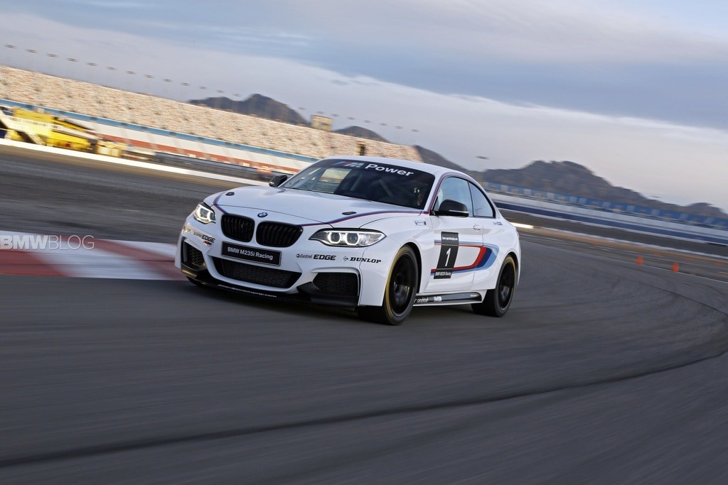 BMW M235i Race Car on the track