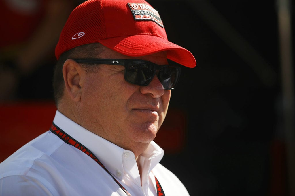 Team owner Chip Ganassi looks on as drivers perpare on Carb Day ahead of the 100th running of the Indianapolis 500 at Indianapolis Motorspeedway on May 27, 2016 in Indianapolis, Indiana.