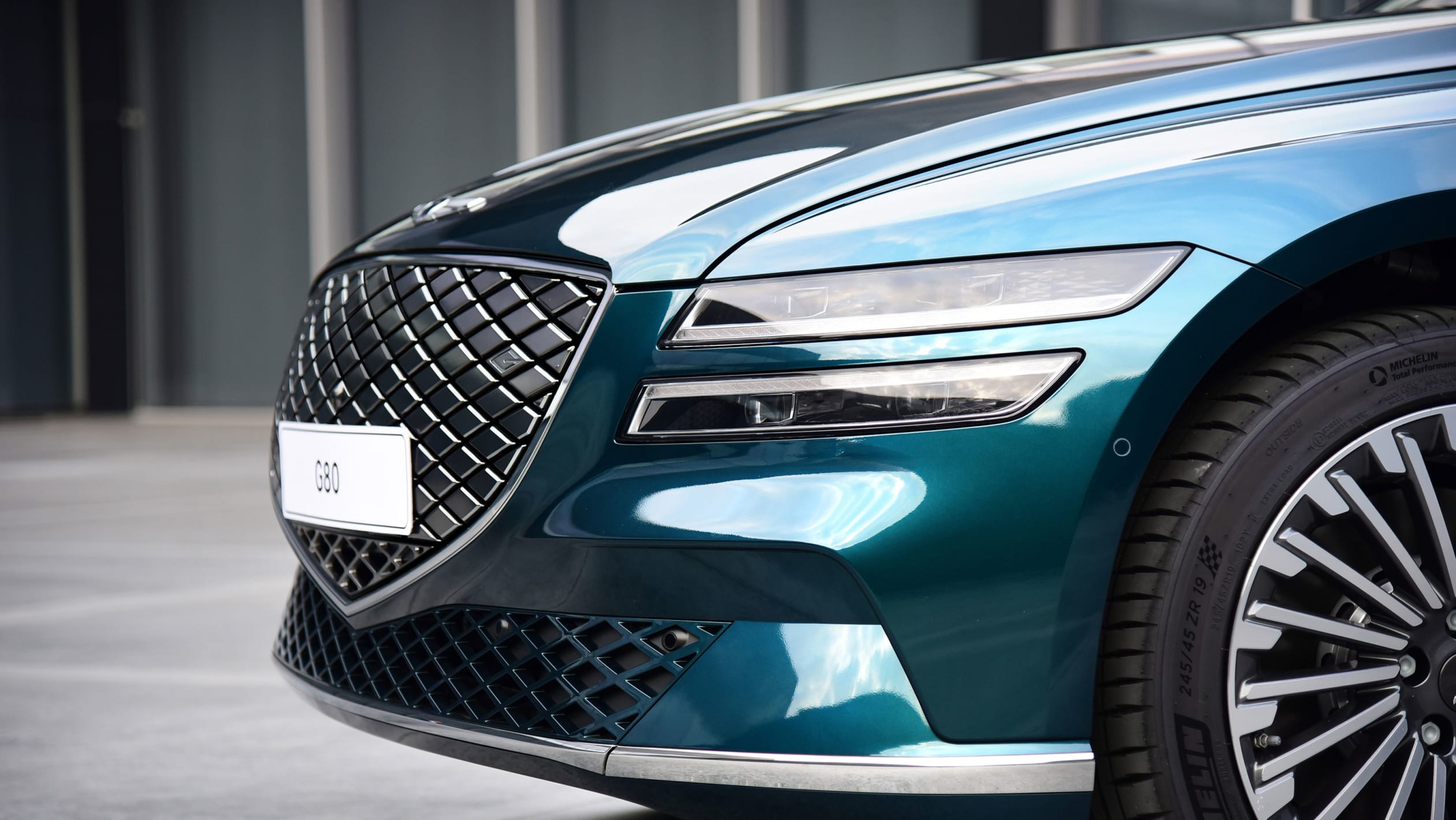 The front of the Genesis Electrified G80