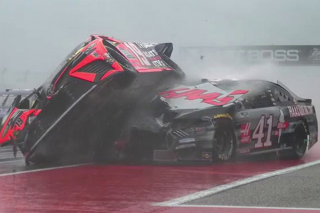 The crash of Martin Truex and Cole Custer at the last Circuit at the Americas race.